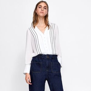 Zara Piped Detail Button Front Blouse Size M